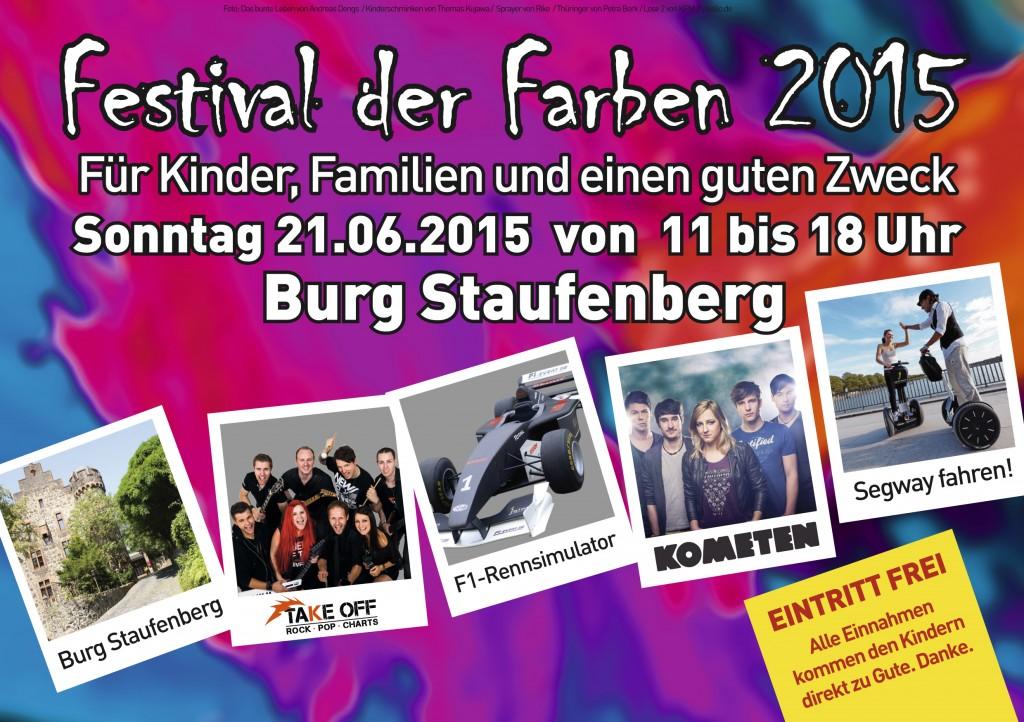 Festival der Farben 2015 - für Kinder, Familien und einen guten Zweck - Sonntag 21. Juni 2015, Burg Staufenberg